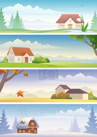 Illustration for Vector four seasons banners. - Royalty Free Image