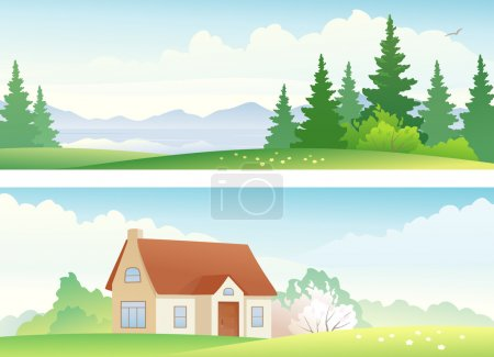 Illustration for Vector banners with summer and spring landscapes. - Royalty Free Image