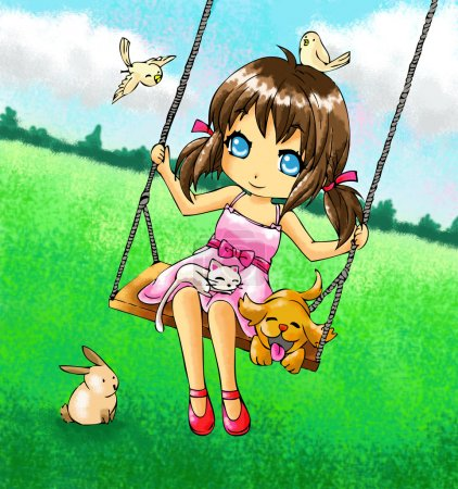 Cute girl on the swing with her dog and other animals.