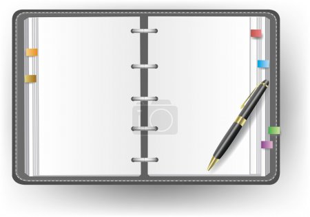 Office diary with no line and a ballpoint pen
