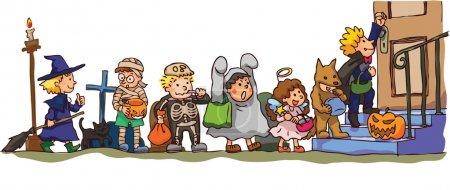 Illustration pour Les enfants accélèrent Halloween. C'est tour ou régal !, créer par vecteur - image libre de droit