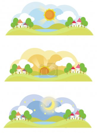 Illustration for 3 natural landscape on various time of the day, create by vector - Royalty Free Image