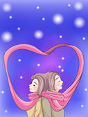 Cute couple bonding in winter scene with their scarf vreate by vector