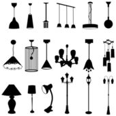 Sets of silhouette lamps create by vector