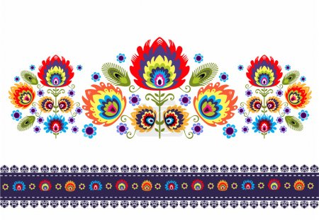 Folk Pattern With Flowers