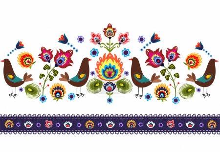 Folk Pattern With Birds