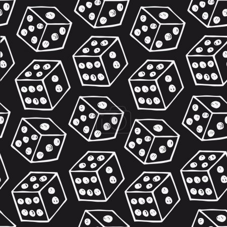 Image of dice Seamless black pattern with drawn bricks