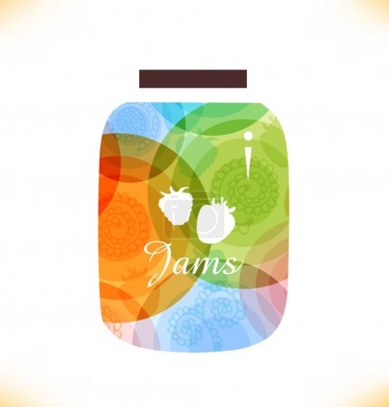 Vector multicolor jam jar. Confiture. Isolated pot of jam. Beauty element for gifts, cards, invitations