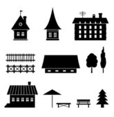Set of different houses Icons of country elements Trees fences houses benches Village views