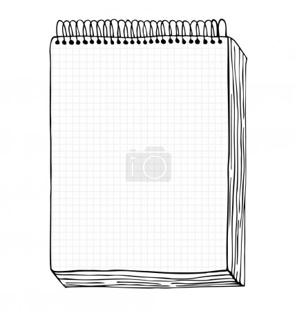 Sketch of notebook. Vector illustration with hand drawn leaf of notebook. Clip art. Notepad with clear page