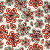 Doodle bright decorative seamless fabric texture Background with flowers Vintage pattern