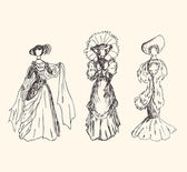 Women silhouettes Vintage icons collection of retro women Set of romantic women in modern dresses Daguerreotypes images Pictogram