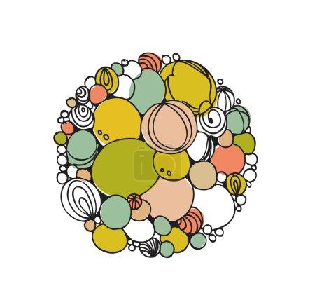 Rainbow round elements. Border with many different decorative details. Foam. Cartoon design