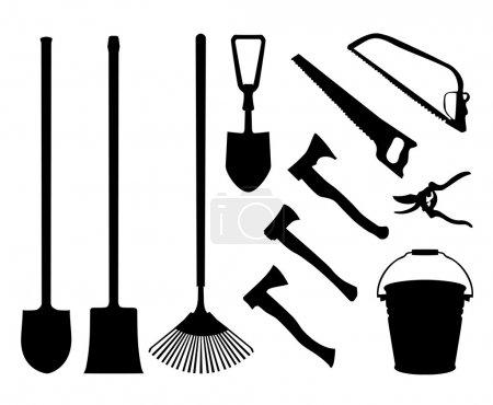 Illustration pour Ensemble d'instruments. Collection d'instruments Contour. Silhouettes isolées noires d'outils de jardin. Pelle, bêche, hache, scie, scie à main, seau, seau, râteau cisailles de jardin - image libre de droit