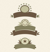 Set of vintage labels stamps ribbons marks and retro decorative design elements vector banners collection Grunge trendy borders