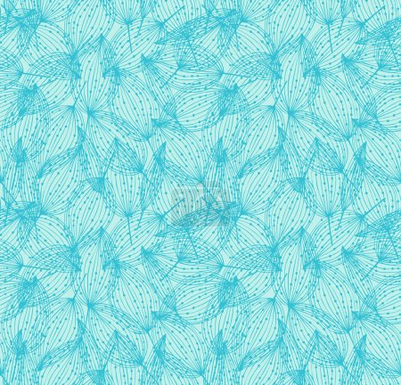 Illustration for Floral seamless pattern. Turquoise linear background with leaves. Decorative leaves with dots - Royalty Free Image