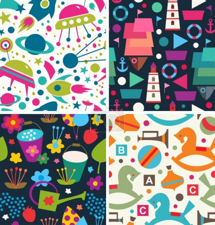 Color vector pattern. Aliens, ships, toys, flora