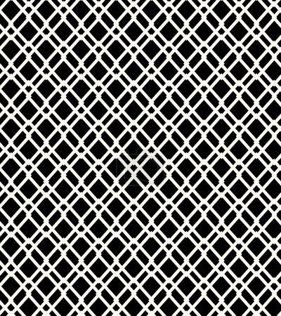Seamless black and white geometric netting pattern. Grating background. Grate, lattice