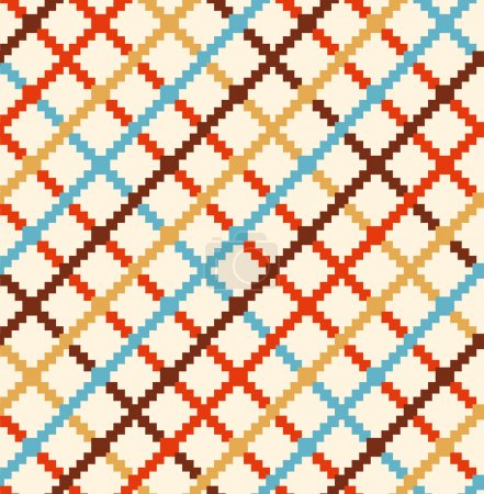 Illustration pour Motif rural décoratif à carreaux. Multicolore fond de campagne sans couture - image libre de droit
