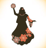Dancing woman in retro traditional clothes Girl in vintage dress with tambourine