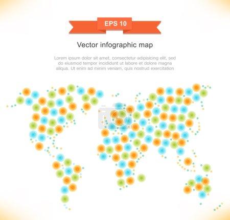 Illustration pour Carte vectorielle stylisée multicolore. Image du monde - image libre de droit
