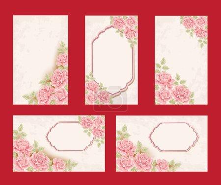 Illustration pour Collection de cartes de vœux rétro avec rose rose. Illustration vectorielle . - image libre de droit