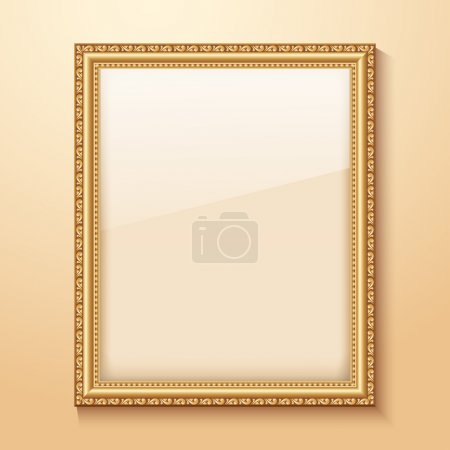 Illustration for Empty gold frame hanging on the wall. Vector illustration - Royalty Free Image