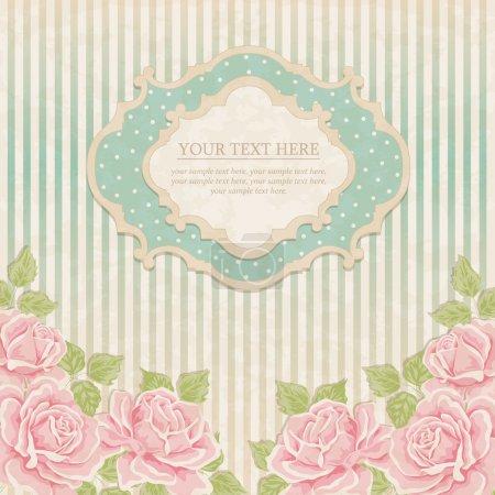 Illustration pour Fond vintage avec des roses. carte de voeux, invitation - image libre de droit