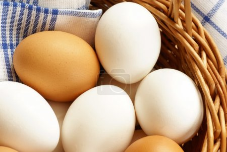 Photo for Detail of basket with chicken eggs and dishcloth. - Royalty Free Image