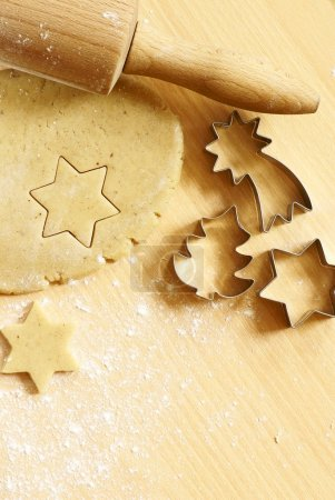 Photo for Dough for gingerbread cookies and baking accessories - Royalty Free Image