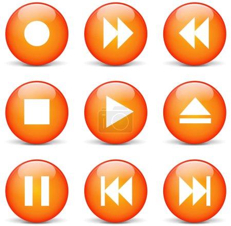 Illustration pour Illustration vectorielle de l'ensemble orange de boutons web multimédia - image libre de droit