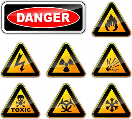 Illustration pour Illustration vectorielle des signes de danger sur fond blanc - image libre de droit