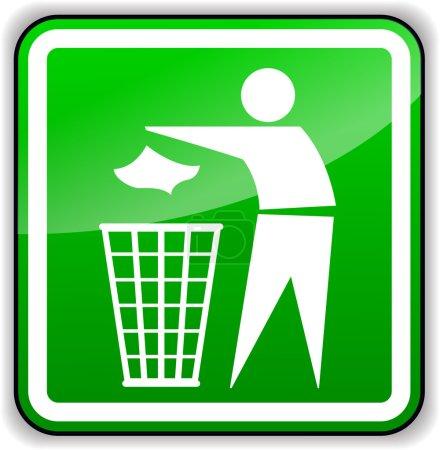 Vector throw away trash green sign