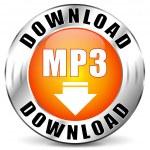 Vector illustration of mp3 download orange icon...