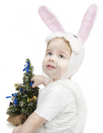 New year kid in bunny costume
