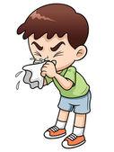 Sick boy kreslený