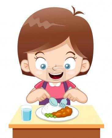 Cartoon Mädchen essen