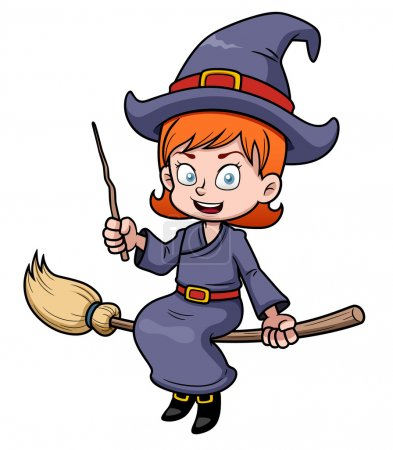 Cartoon witch flying on a broomstick