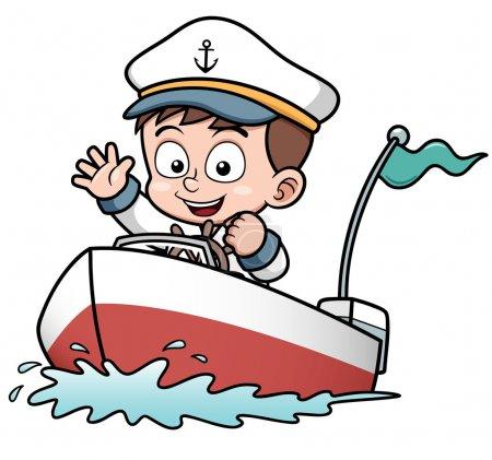 Boy driving boat