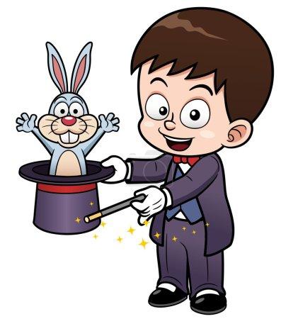 Illustration pour Illustration vectorielle du dessin animé Boy Magician - image libre de droit