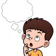 Vector illustration of Cartoon boy thinking with white bubble