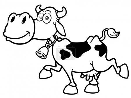Illustration pour Illustration vectorielle de Cartoon Cow - Livre à colorier - image libre de droit