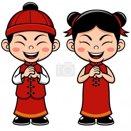 Illustration for Vector illustration Chinese Kids - Royalty Free Image
