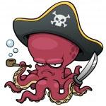 Vector illustration of Cartoon pirate octopus...