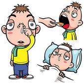 Sick boy cartoon