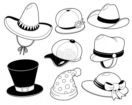 Illustration for Vector illustration of Hat set - Coloring book - Royalty Free Image