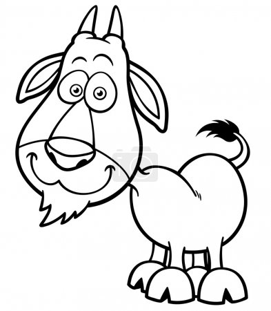 Illustration for Vector illustration of Goat Cartoon - Coloring book - Royalty Free Image