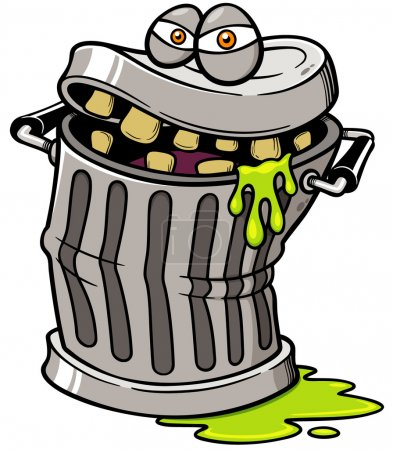 Vector illustration of Monster Trash can...