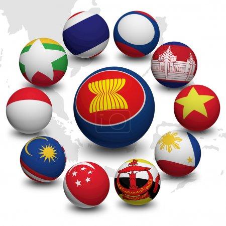 Foto de Bola 3D con la bandera de la comunidad económica de la asean - Imagen libre de derechos