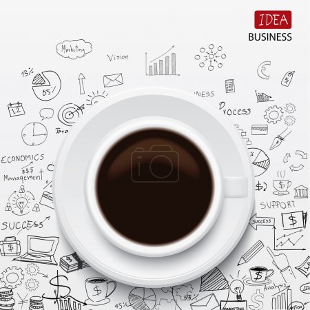 Illustration for Coffee cup and business strategy Business plan Idea Sketch - Royalty Free Image